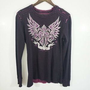 Affliction Reversible Waffle Knit Thermal Shirt